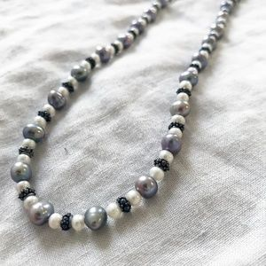 Jewelry - Handmade White + Iridescent Pearl Necklace